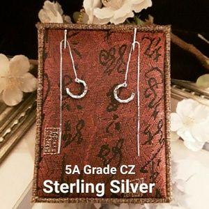 Jewelry - NEW S925 CZ The Wave Tassel Cuff Thread Earrings